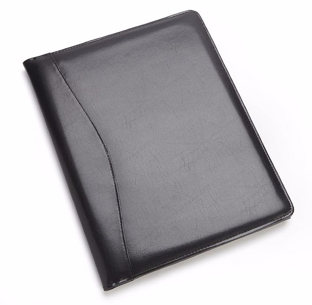 A4 Zipped Bonded Leather Black /& Brown Writing Case Conference Folder Executive