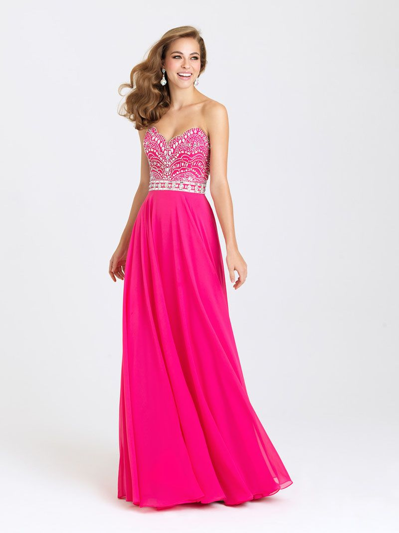 Madison James Hot Pink Beaded Prom Dress | Blush Special Occasion ...
