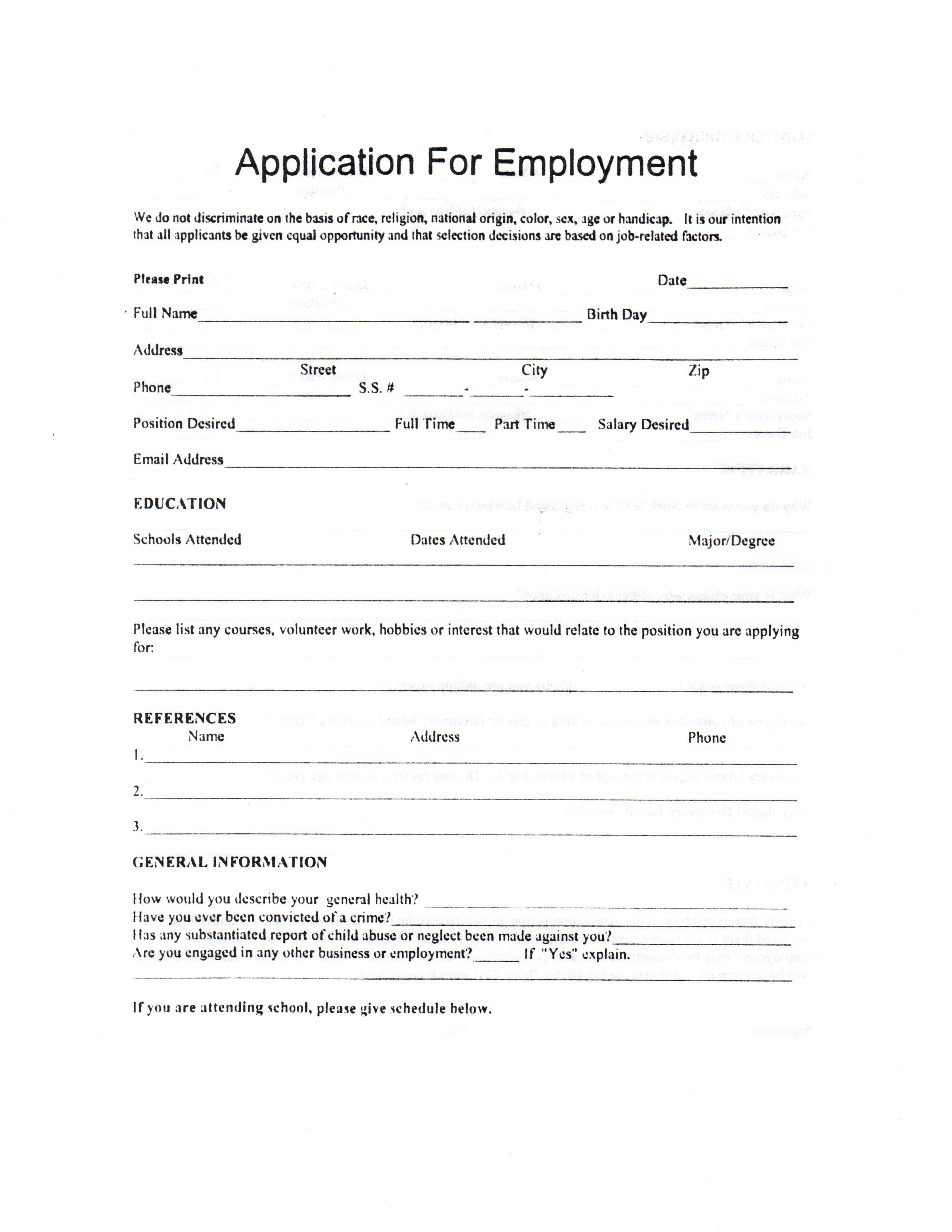 Child Care Employment Application