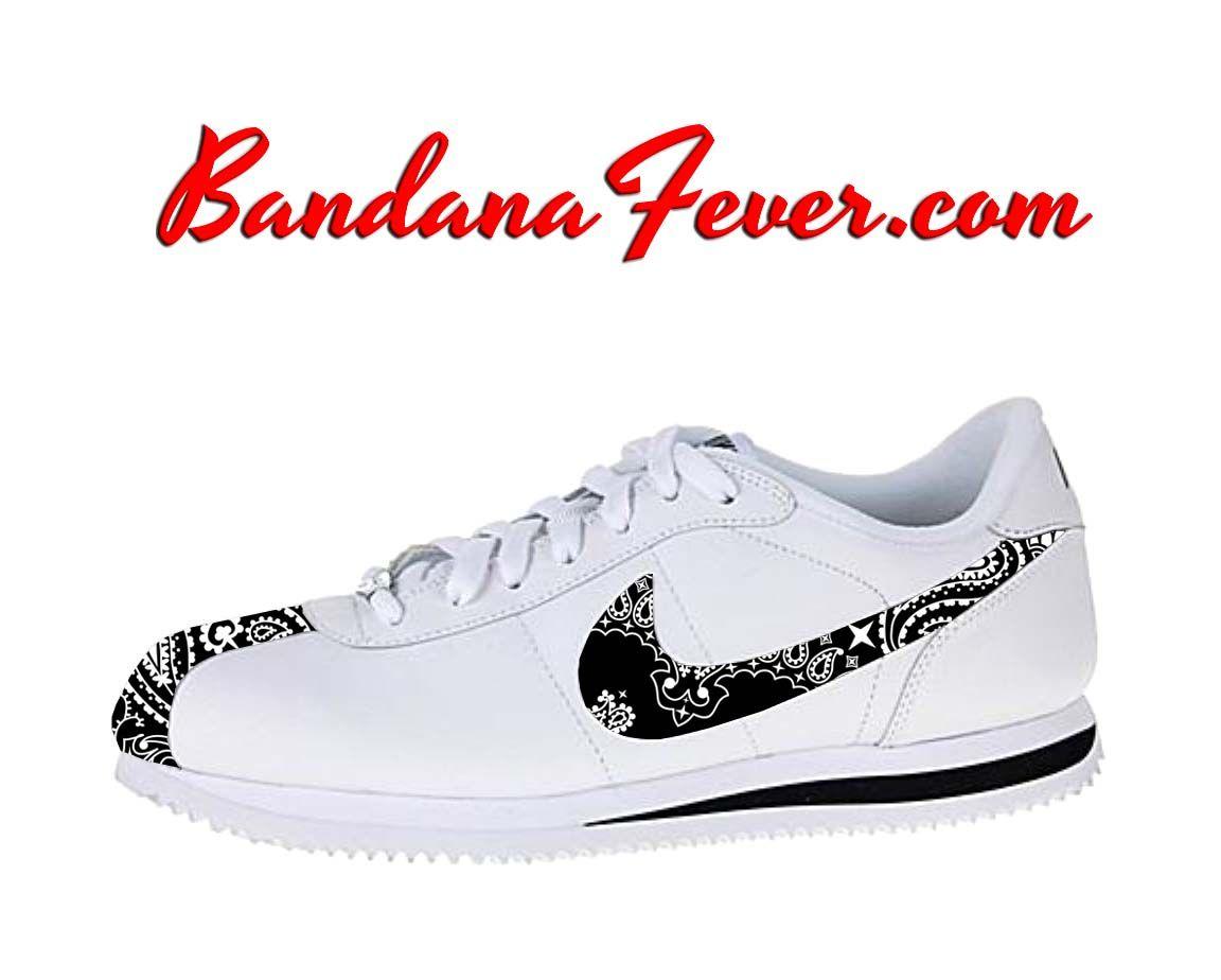 new product 800b6 fd743 custom black bandana nike cortez leather white black paisley bandana fever