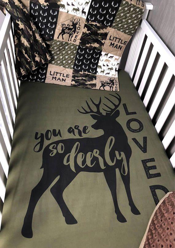 Baby Nursery Bedding Set Woodland Dear Moose Camo Hunting
