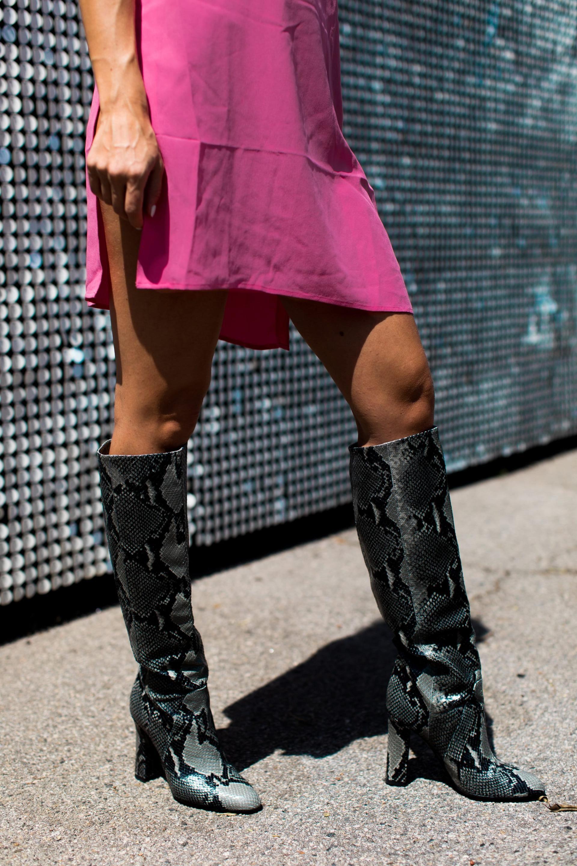 Snakeskin knee high boots hot pink slit dress  Shoes  Pinterest