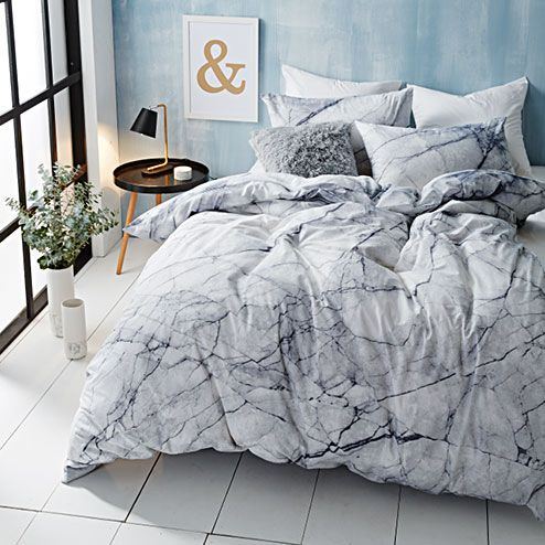 Marble quilt cover target australia home decor for Black and white marble bedding