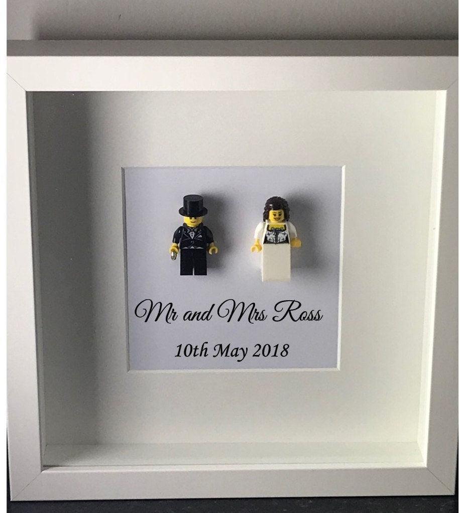 Lego Figure Wedding Gift Frame For The Couple Bride Groom