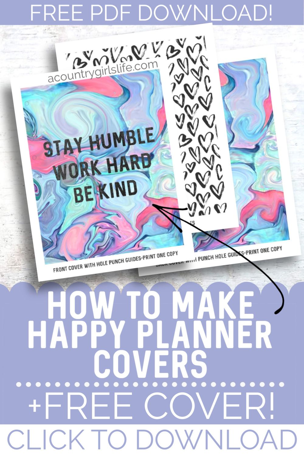 Diy Happy Planner Covers Free Printable Covers A Country Girl S Life In 2020 Happy Planner Cover Planner Printables Free Planner Cover