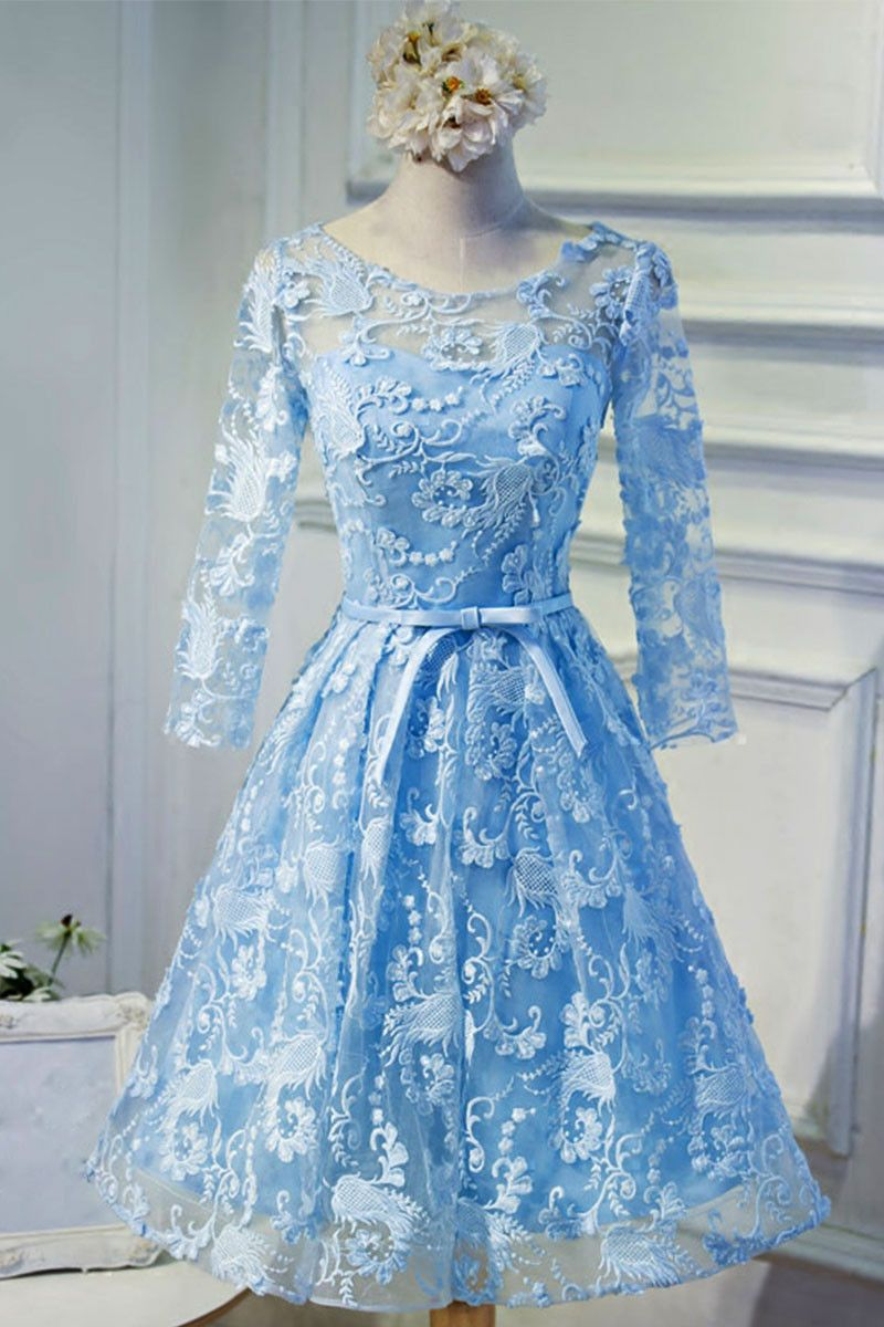 Blue round neck lace short prom dress, blue homecoming dress | Blue ...
