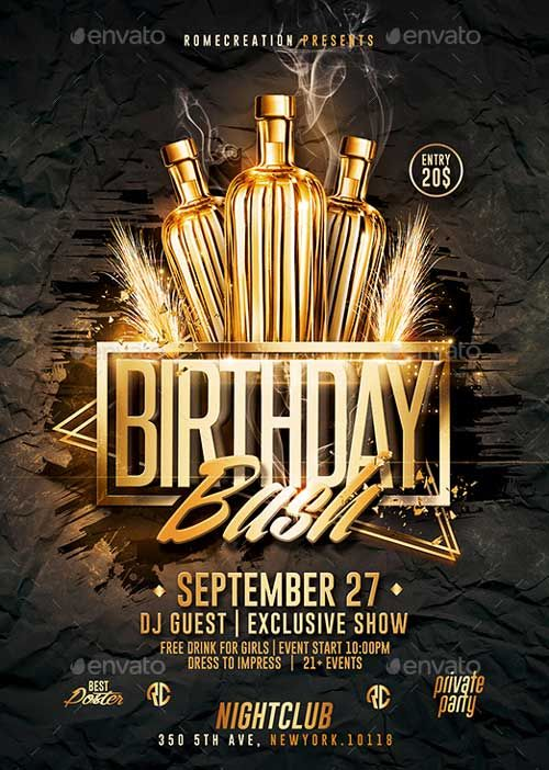 Gold Birthday Bash PSD Flyer Template - http\/\/ffflyer\/gold - club flyer background