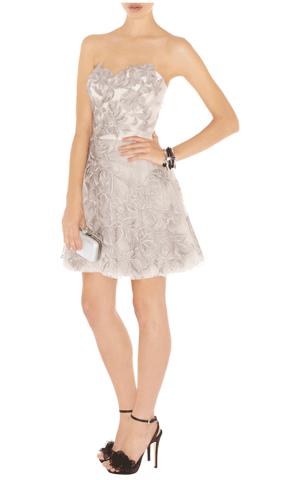 Karen Millen Gray Romantic Embroidery Dress