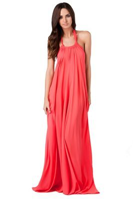 Flowing halter maxi dress with plunging open back and hip pockets