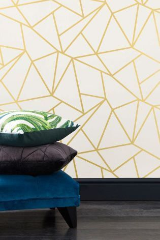Geometrische Behang Goud En Wit Verwisselbare Wallpaper Geometric Wallpaper Wallpaper Decor Geometric Pattern Wallpaper