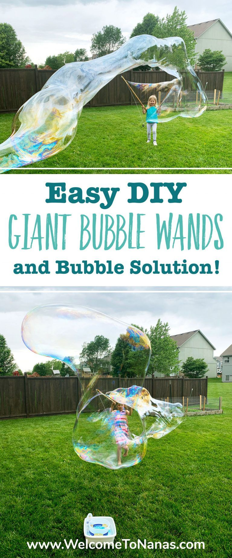 Easy DIY Giant Bubble Wands and Solution To Nana