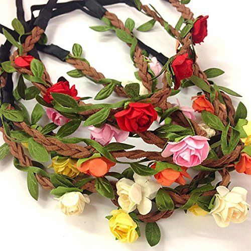 5 Pcs Women Lady Girls Bohemian Boho Style Rose Flower Floral Crown Headband Garland Halo Hair Band For Festival Party Wedding  Random Color >>> Click on the image for additional details. #Headbands
