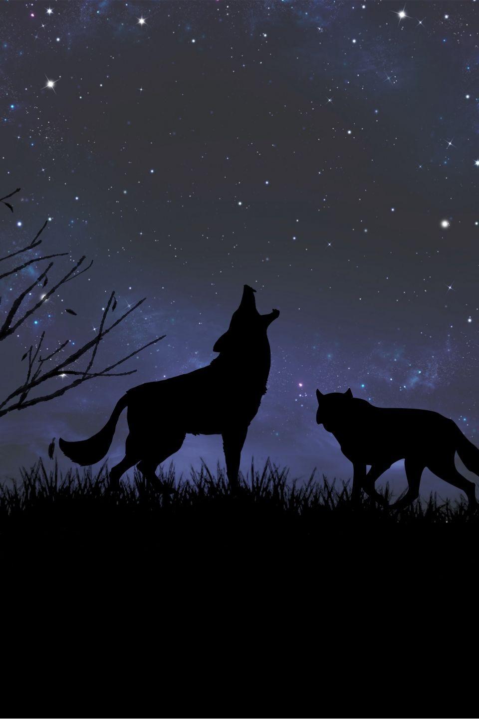 Cartoon Hand Drawn Moonlight Wolf Howling Hunting