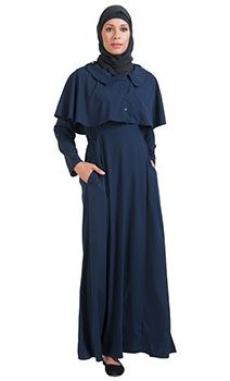 3c4a3382f02c Navy Open Front Button Cape Abayas Hijab Fashion, Modest Fashion, Abayas, Final  Sale
