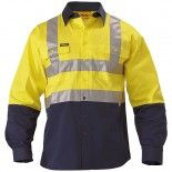 Bisley Workwear Safety Wear 2 Tone Hi Vis Drill Shirt 3M Reflective Tape - Long Sleeve Yellow/Navy