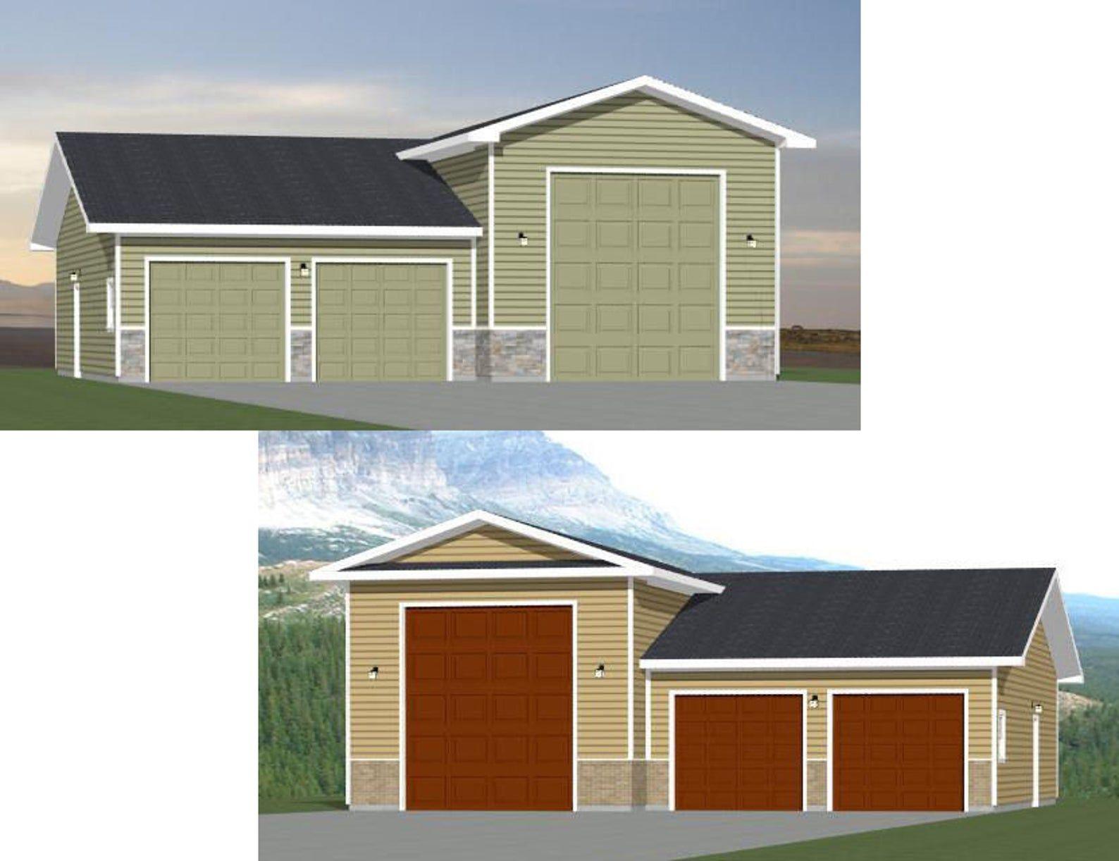 44x48 2 Car 1 Rv Garages 1200 Sq Ft Pdf Floor Plan Etsy Large Garage Plans Rv Garage Plans Floor Plans