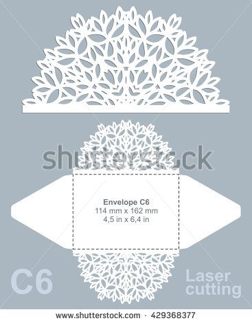 vector die cut envelope template for laser cutting invitation