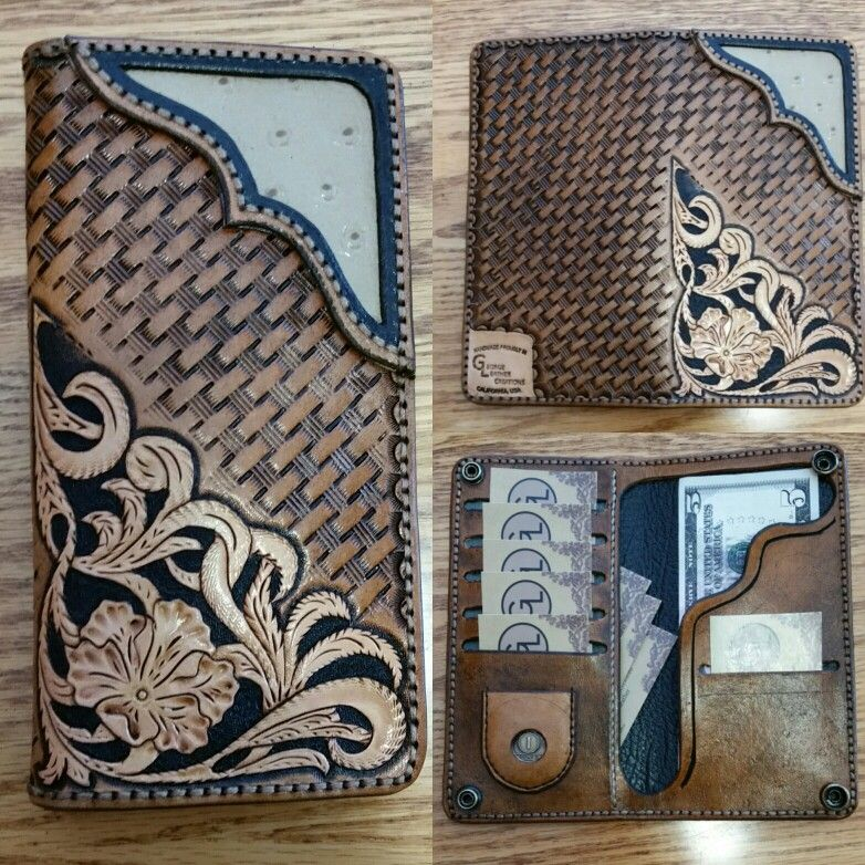 Wallet made to match phone case. Traditional Sheridan tooling, basket weave back…