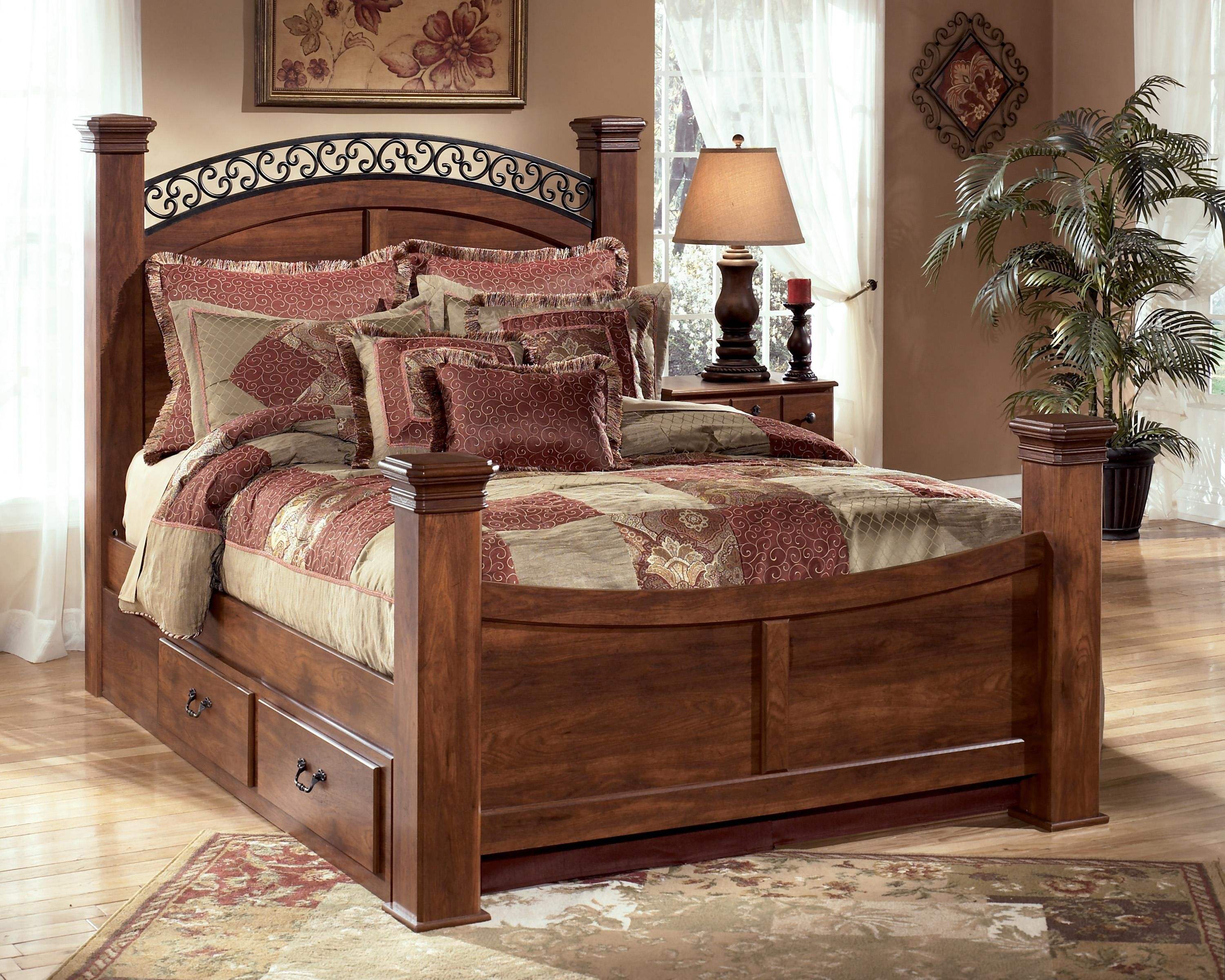 Timberline Queen Poster Bed with Underbed Storage by Signature ...