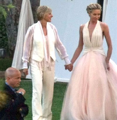 Ellen And Portia De Rossi Married In L A Evening Dresses For