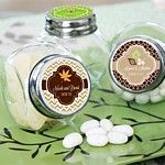 Miniature vintage inspired glass candy jars with personalized fall themed labels