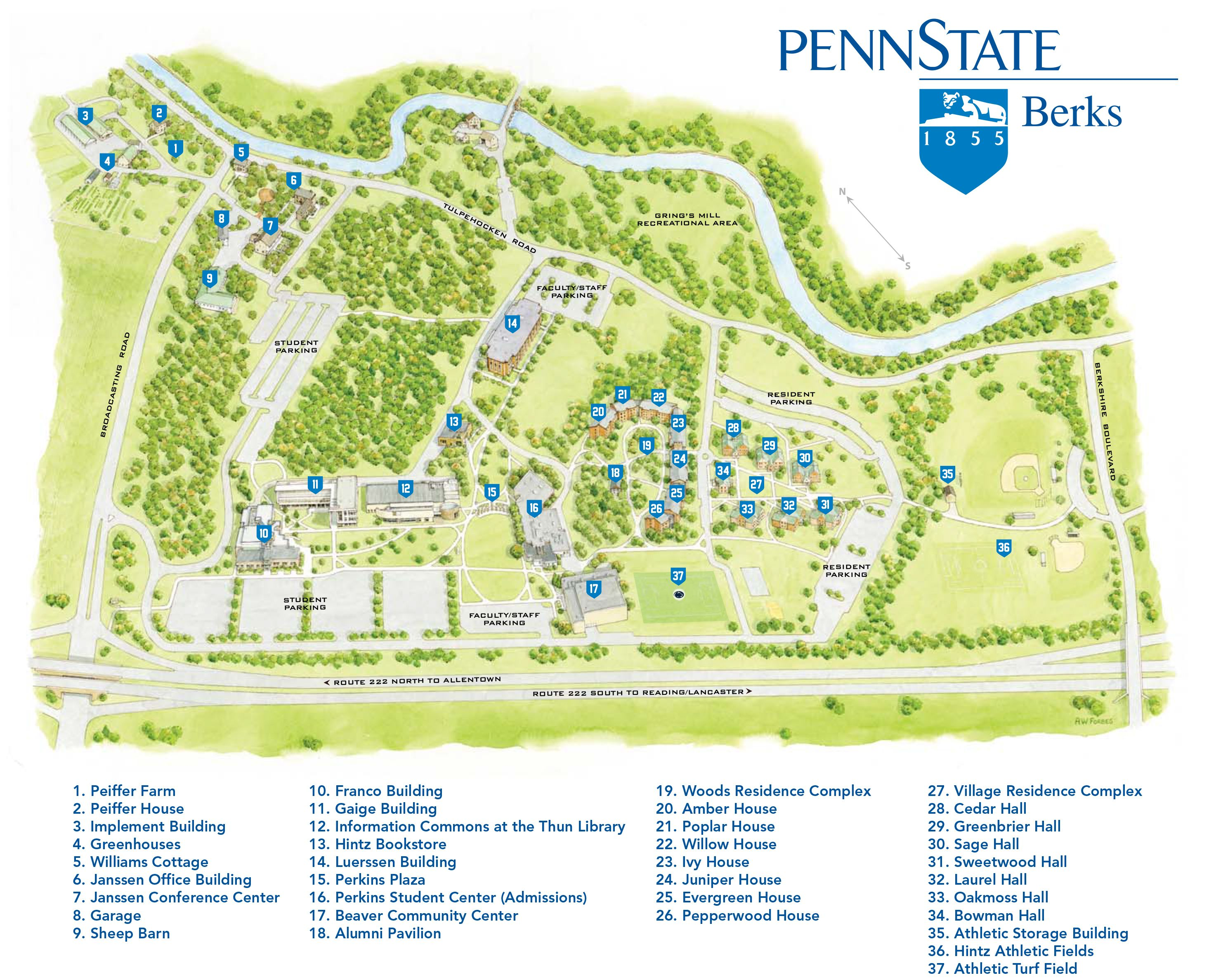 Pin by Penn State Berks on The Campus | Printable maps ...