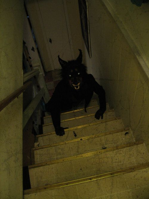 Out of everything I've seen, this is the creepiest. Werewolf prop on any stairway. Idea and pic only.