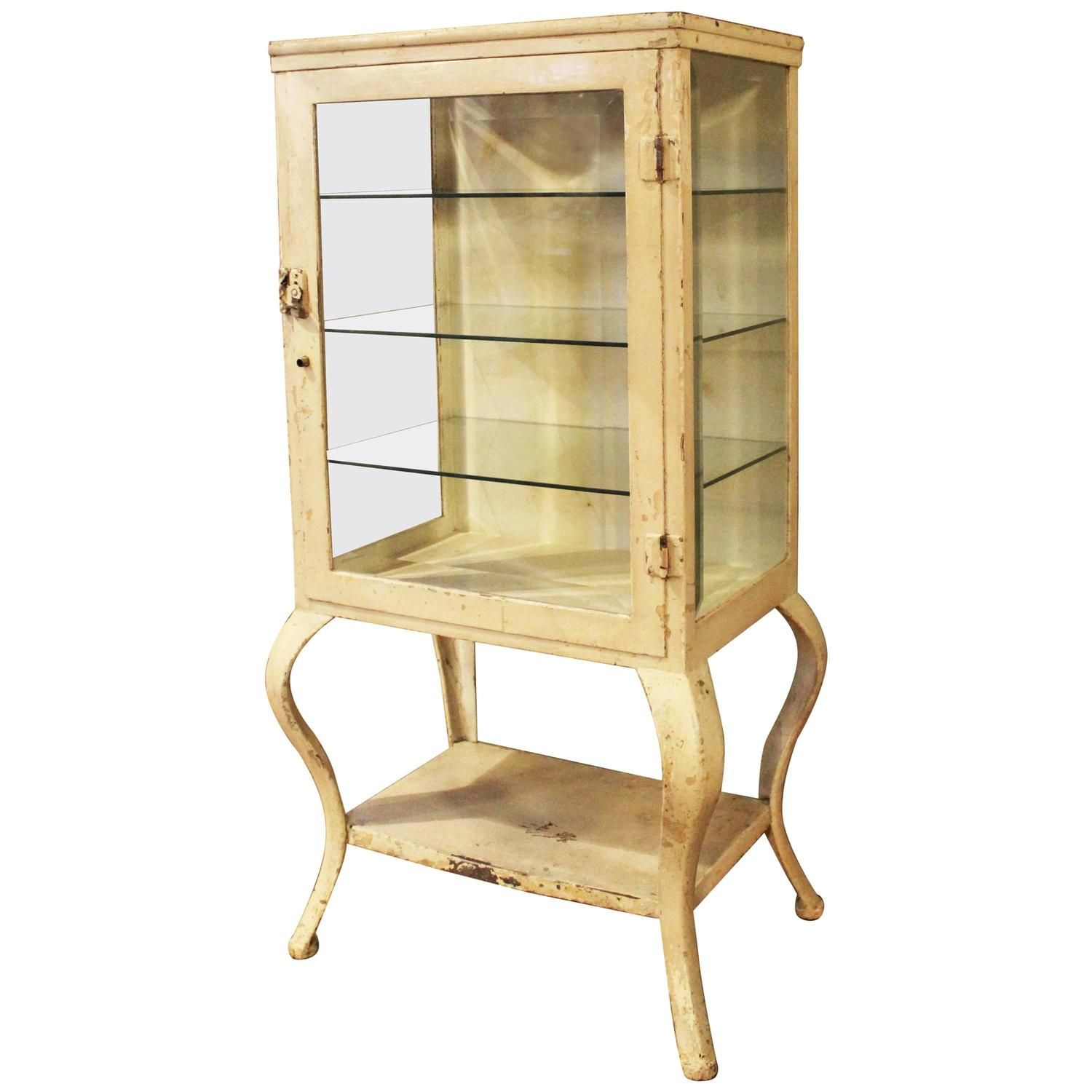 Vintage Industrial antique steel, metal and glass medical, pharmacy storage  cabinet with three glass - Vintage Industrial Antique Steel, Metal And Glass Medical, Pharmacy