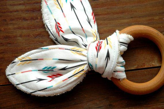 Organic Wood Teether // Arrows // Turquoise by thebirdandelephant, $16.00