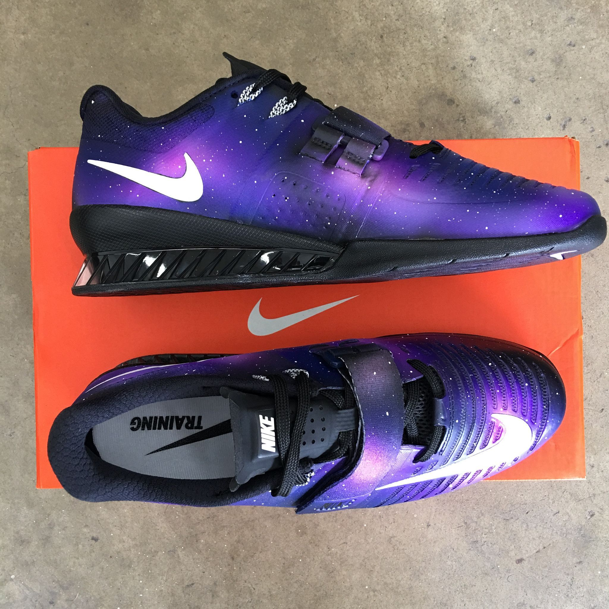 on sale f2371 90cbd These custom hand painted Nike Romaleos 3 Weightlifting Shoes have been hand  painted with purple galaxy theme. These custom Lifters have combinations of  ...