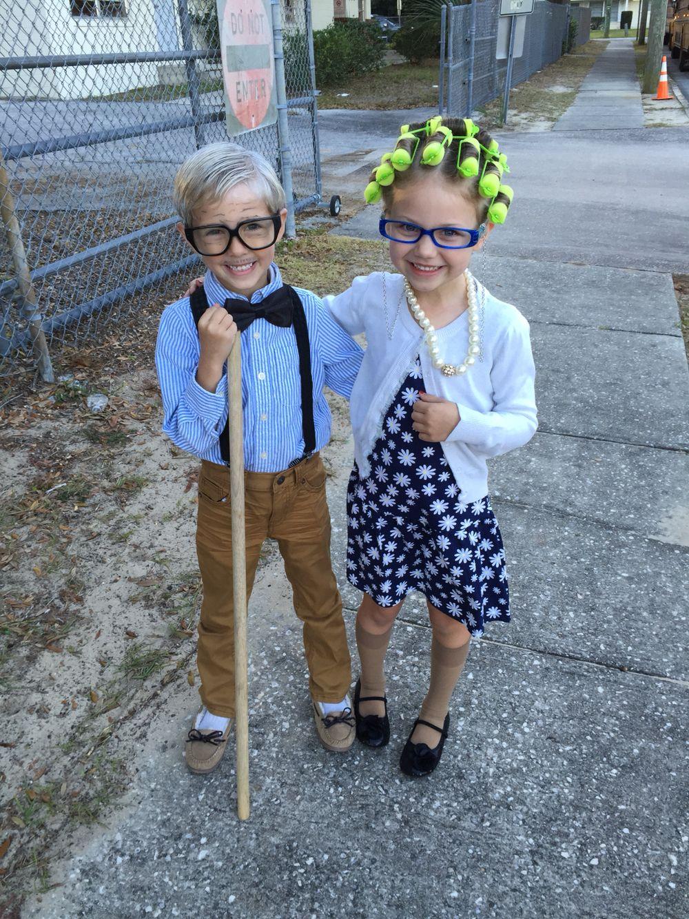 100th day of school costumes! Mini grandpa and grandma