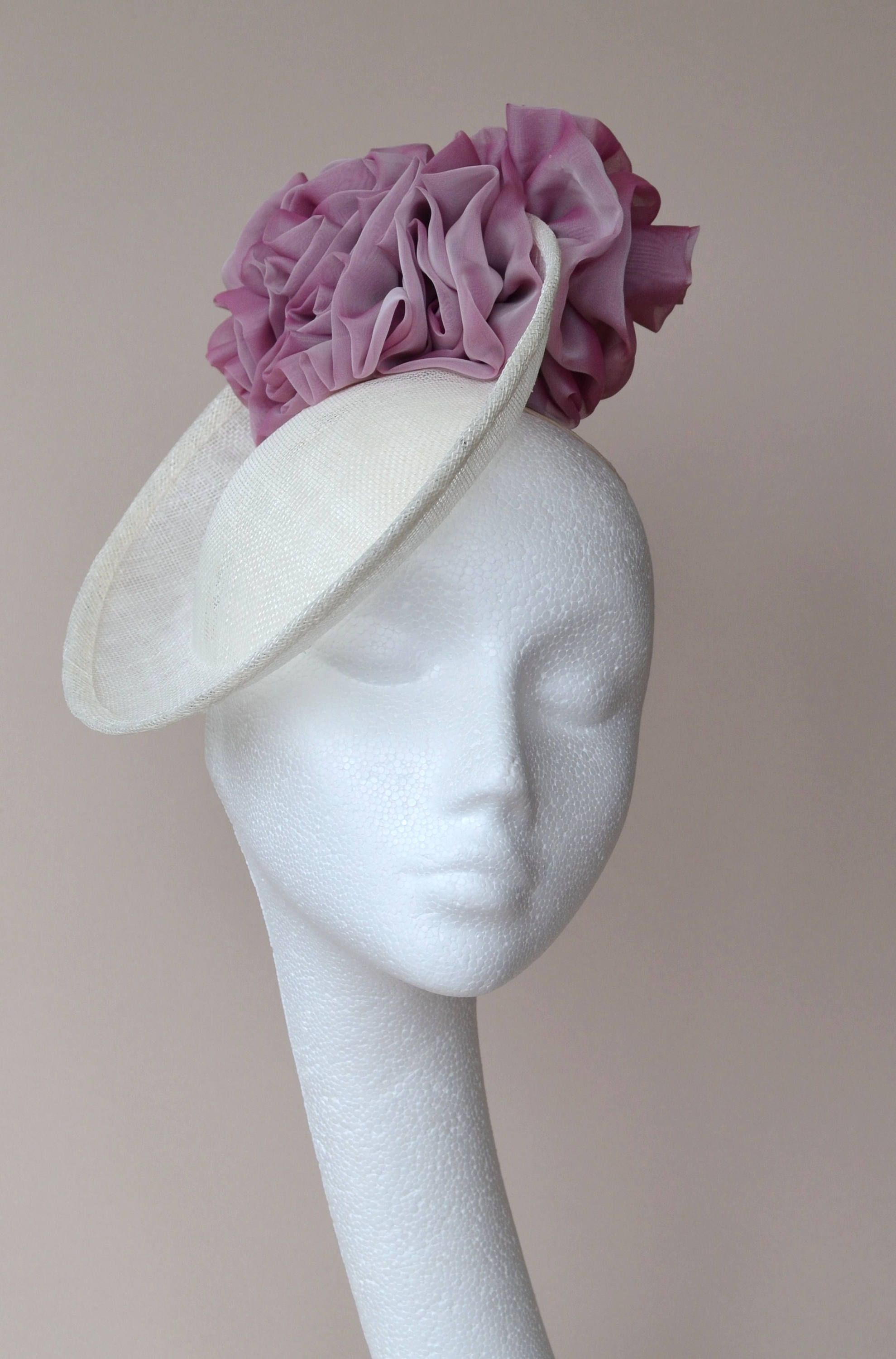 879a109ab59f3 Ivory saucer hat with rose pink flowers. Cream saucer hat. White disc hat.  Ivory wedding hat. Ivory percher hat. Ascot hat. Derby hat. by  jaracedesigns on ...