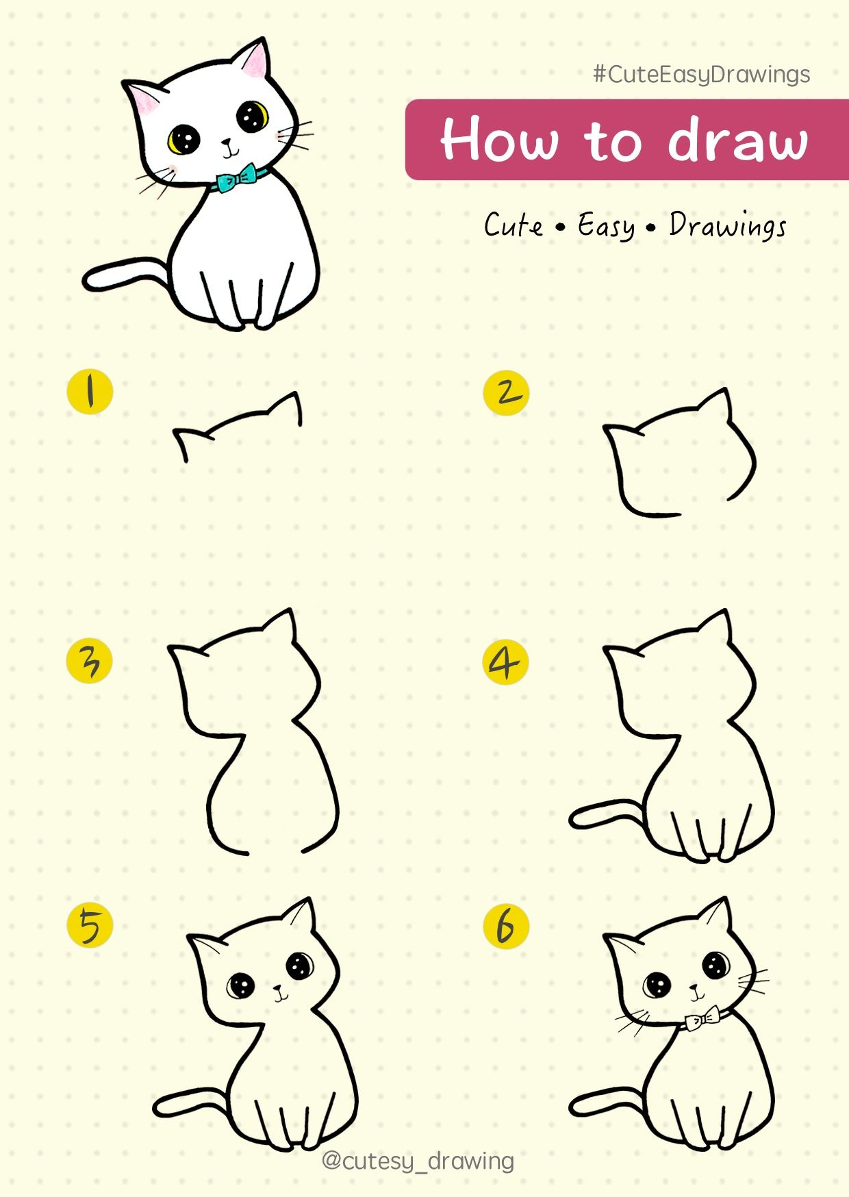 How To Draw Cute Kitten Cat Step By Step Tutorial Cat Kitten