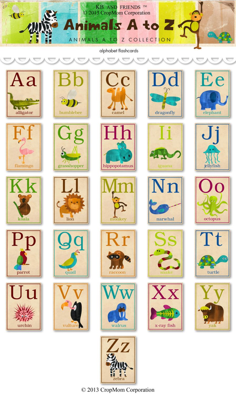 Digital animal ABC alphabet flashcards / downloadable / printable ...