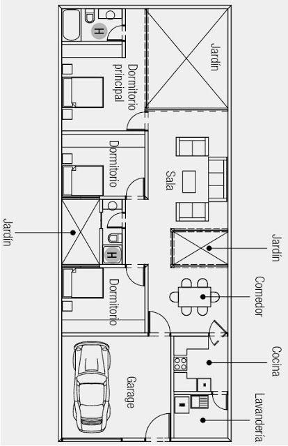 Plano de casa de una sola planta 160 m2 de terreno for Planos de casas 1 planta