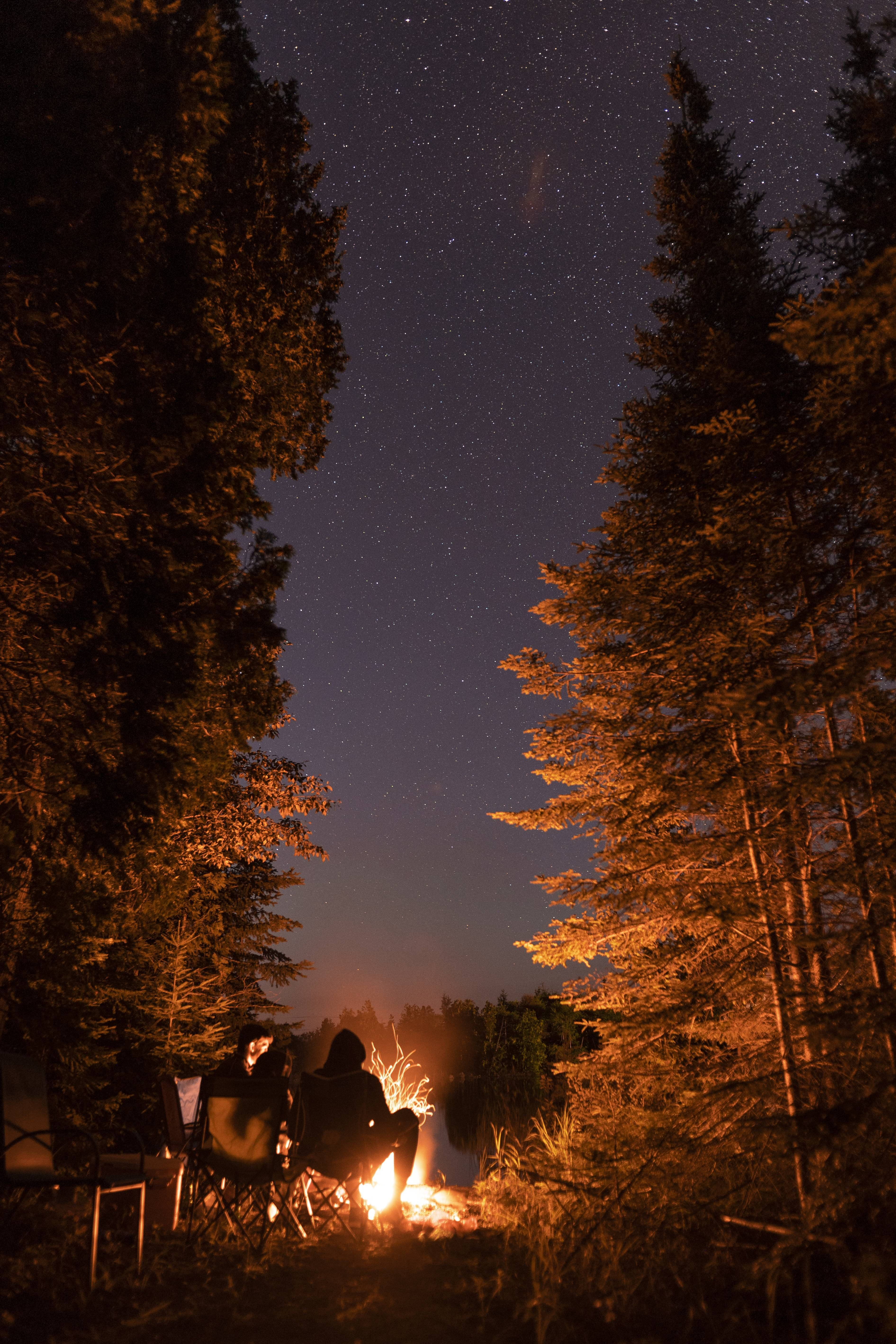 Stories by the campfire. Tobermory ON Canada camping