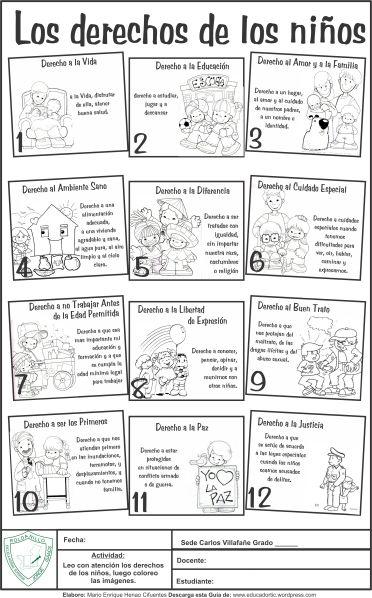 Guía Para Primaria Derechos De Los Niños Teacher Deberes De Los