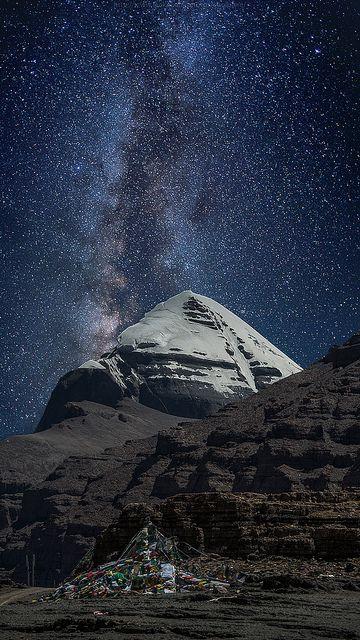 Mt. Kailash & the Milky Way Trans-Himalayas, Tibet.