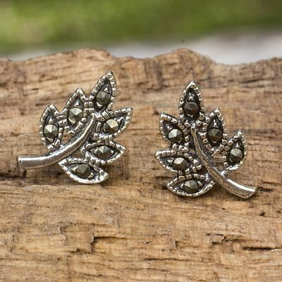 Leaf Stud Earrings Crafted Of Sterling Silver And Marcasite Pee Leaves