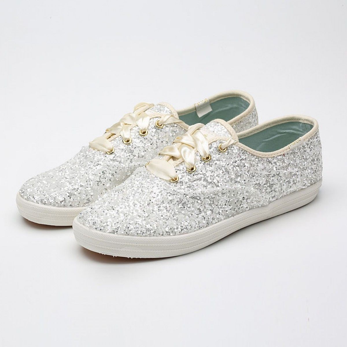 Womens Keds Shoes Silver X Kate Spade New York Champion Glitters Classic  Canvas