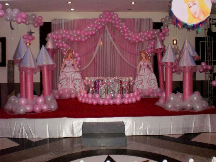 Resultado de imagen para princess theme party decoration for Balloon decoration for stage
