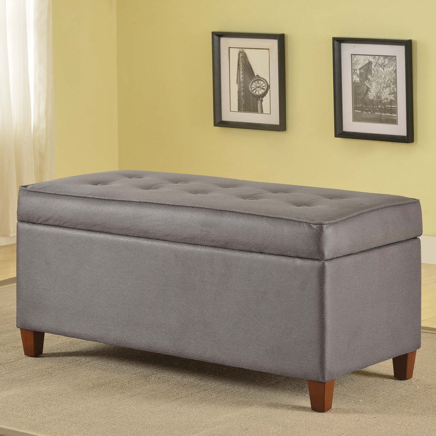 Gray Faux Leather Tufted Storage Bench
