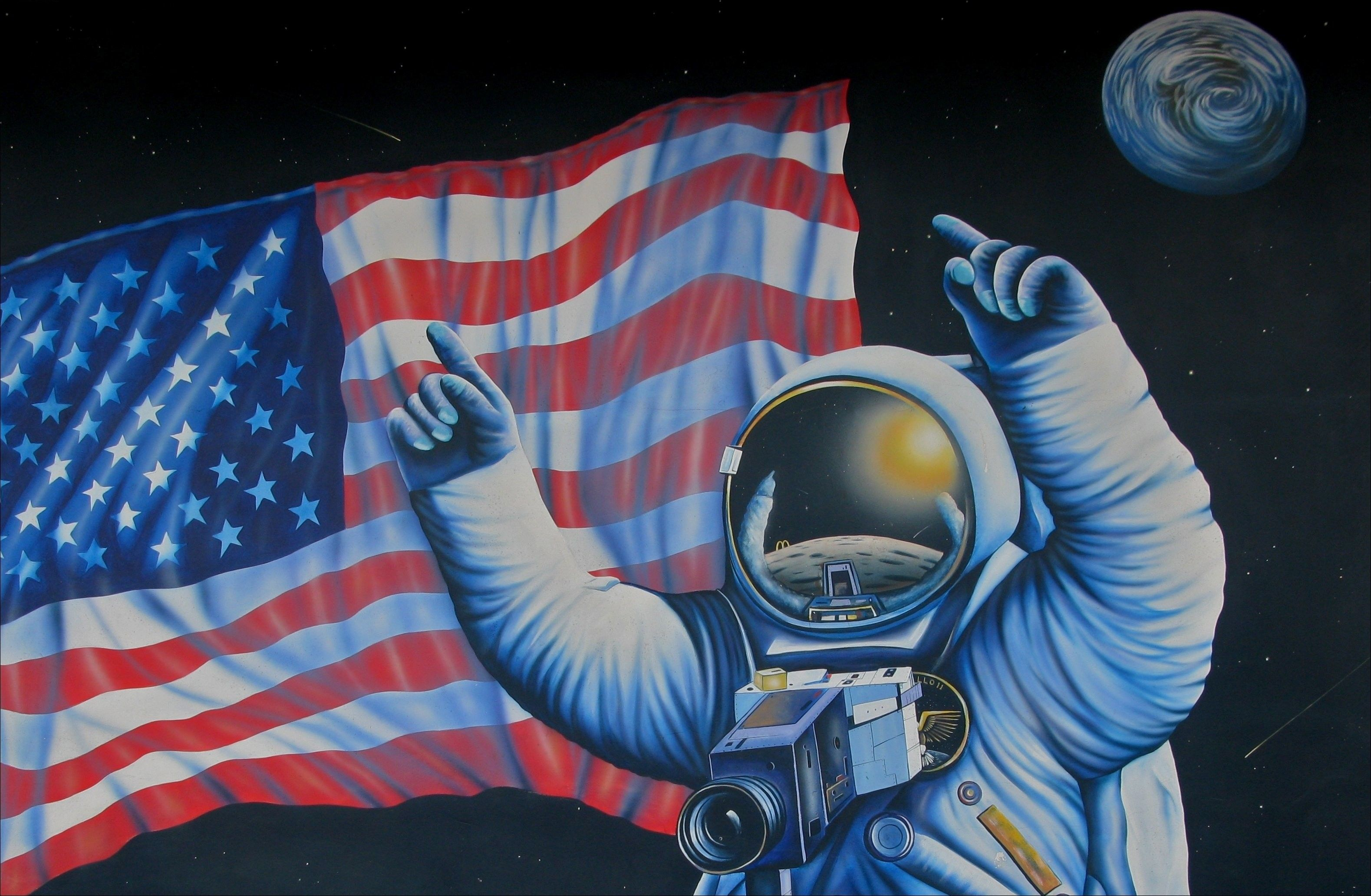 Pin On Background Astronaut on moon with flag wallpaper