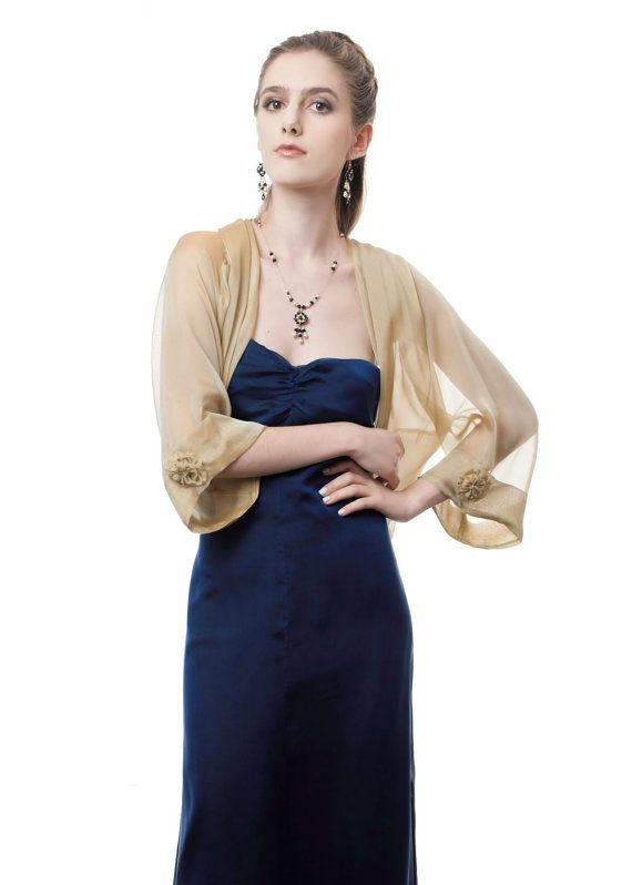 6c883b64b62 Antique Gold Silk Chiffon Bolero  Shrug   Sizes by StyleofElegance ...