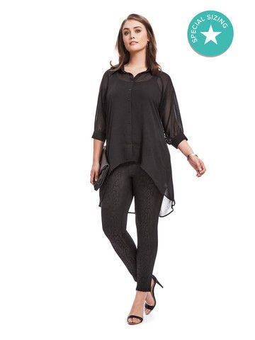 Plus Size CITY CHIC Open Back High Low Tunic In Black