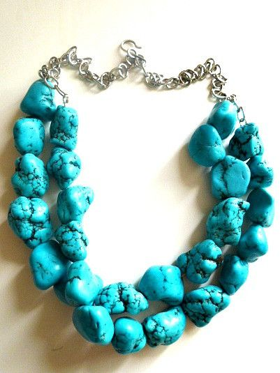 Blue Chunky Turquoise Statement Necklace blue turquoise. Multi layers