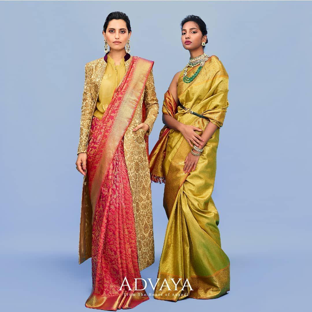 Wedding Sarees By Advaya By Angadi Contact Https Www Instagram Com Advaya Byangadi Sari Silk Saree Blouse Designs Celebrity Bride