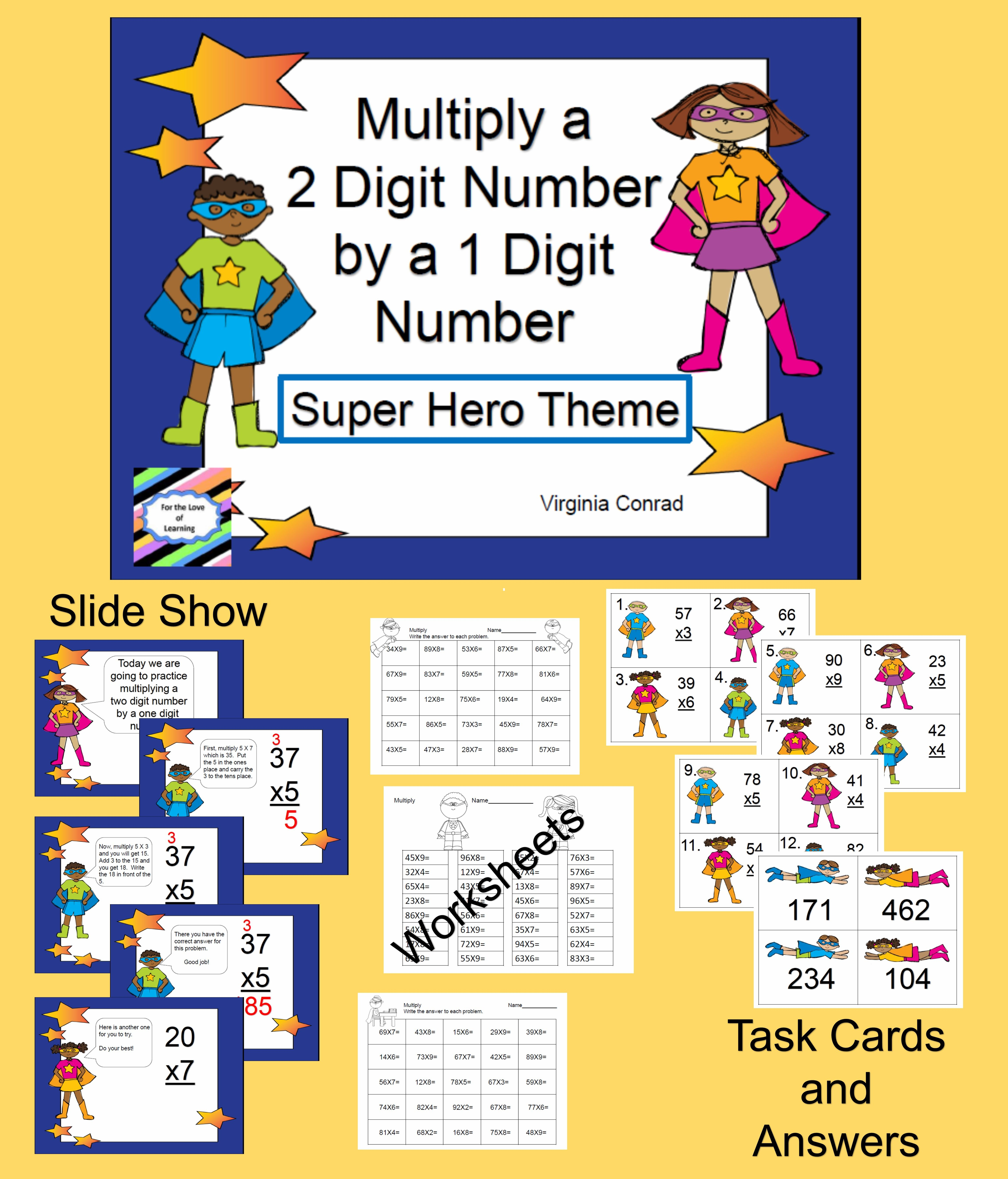 Multiply 2 Digit Number By 1 Digit Number Super Hero
