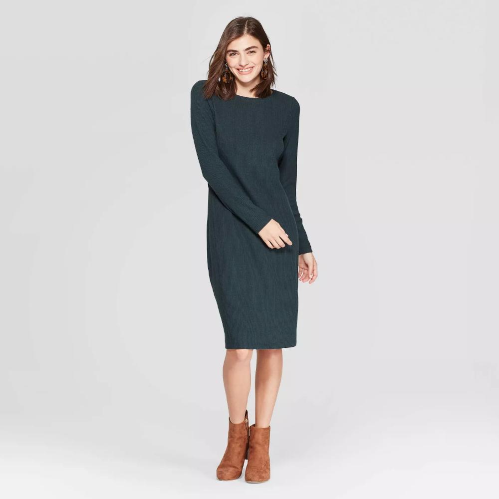 Women S Long Sleeve Crewneck Rib Knit Dress A New Day Target Ribbed Knit Dress Knit Dress Women Long Sleeve [ 1000 x 1000 Pixel ]