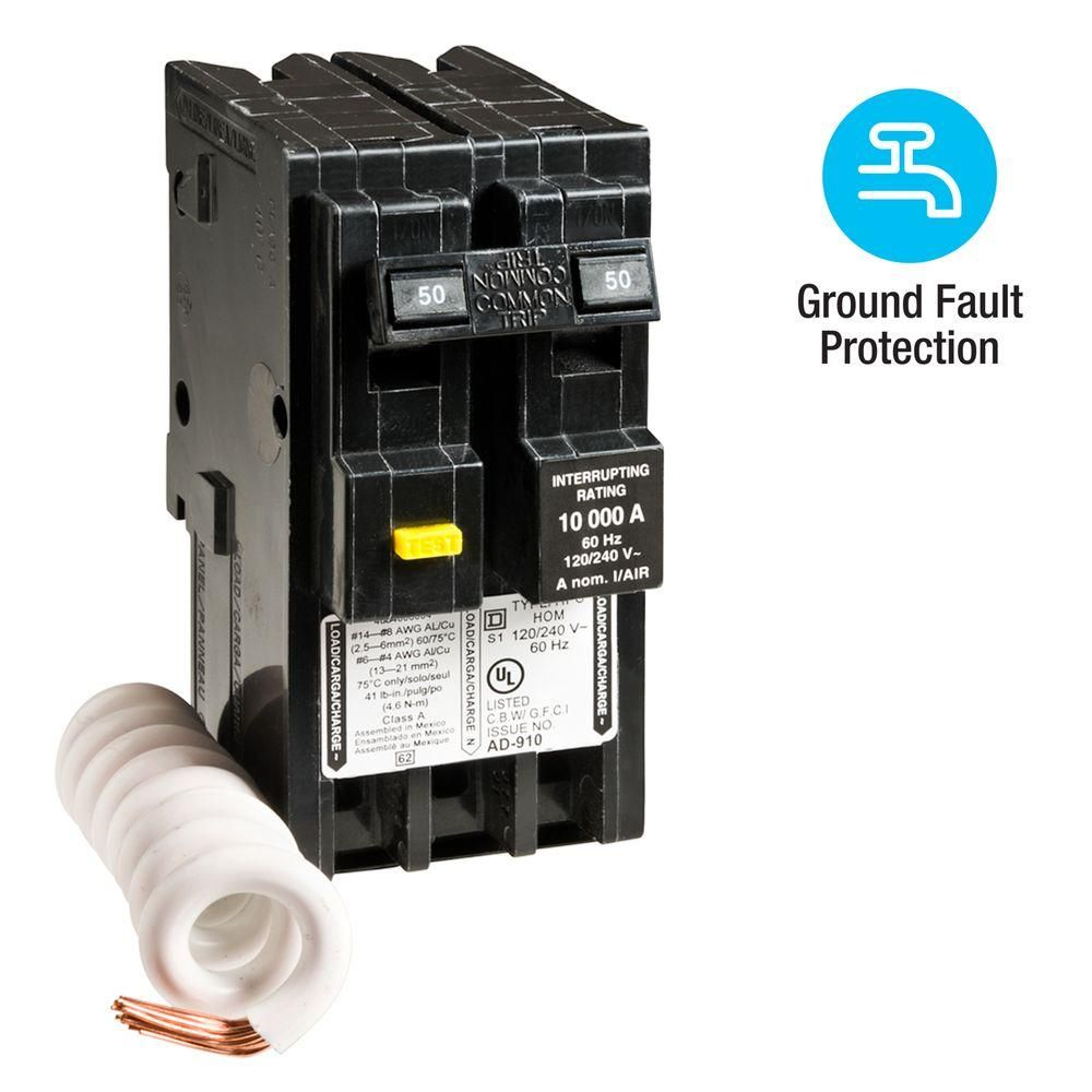 Square D Homeline 50 Amp 2 Pole Gfci Circuit Breaker Hom250gficp The Home Depot Gfci The Home Depot Breakers